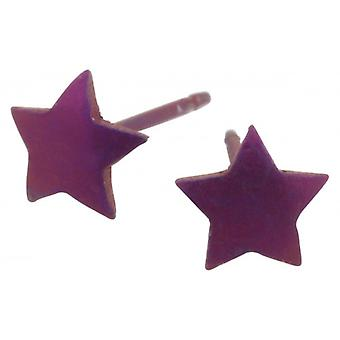 Ti2 Titanium Geometric Star Stud Earrings - Coffee Brown