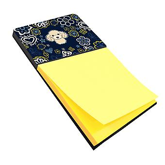Carolines Treasures  BB5109SN Blue Flowers Buff Poodle Sticky Note Holder