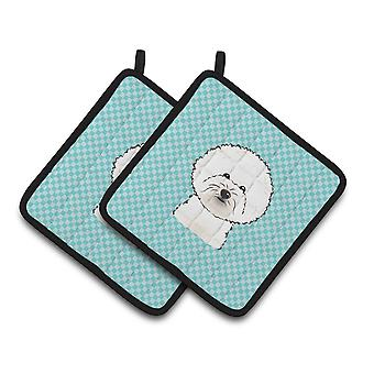 Checkerboard Blue Bichon Frise Pair of Pot Holders