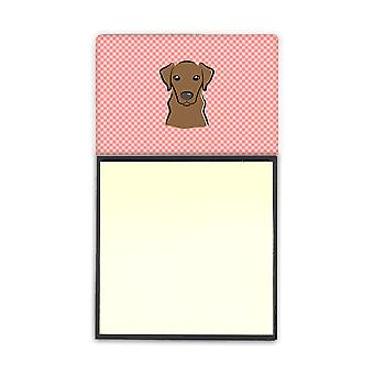 Checkerboard Pink Chocolate Labrador Refiillable Sticky Note Holder or Postit No