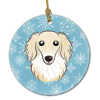 Snowflake Longhair Creme Dachshund Ceramic Ornament