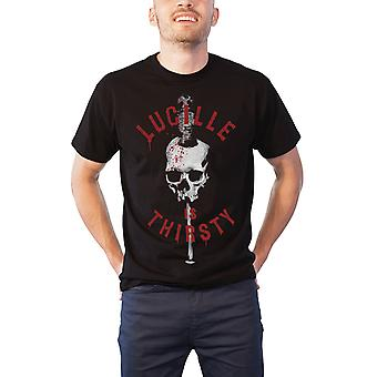 The Walking Dead T Shirt Lucille is Thirsty Negan Bat Official Mens New Black