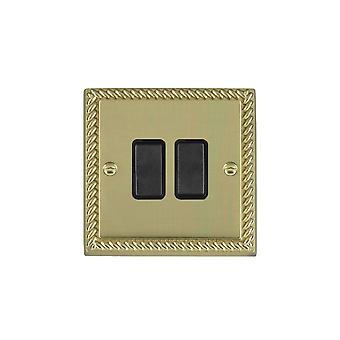 Hamilton Litestat Cheriton Georgian Polished Brass 2g 10AX Inter Rkr BL/BL