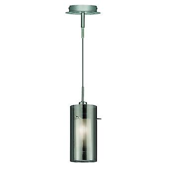 Duo 2 Chrome And Smoked Glass Single Pendant - Searchlight 2301sm