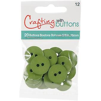 Small Color Buttons 20/Pkg-Fern 5/8