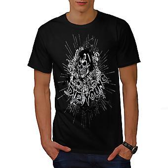 Sterven jonge bloem schedel mannen gekleedinzwartet-shirt | Wellcoda