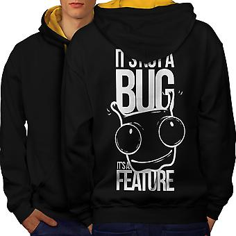 Not A Bug Geek Men Black (Gold Hood)Contrast Hoodie Back | Wellcoda