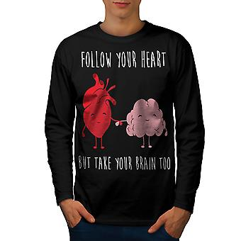 fd016a92f Sale Follow Heart Brain Men BlackLong Sleeve T-shirt | Wellcoda