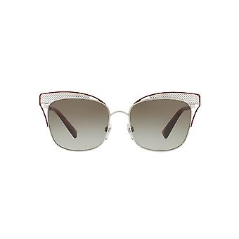 Valentino Metal Mesh Brow Detail Square Sunglasses In Silver Red
