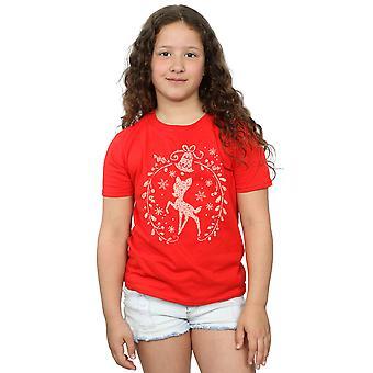 Disney Girls Bambi Natal guirlanda t-shirt