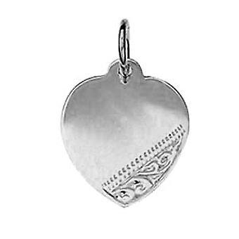 Silber 16x14mm hand gravierten Herz Disc