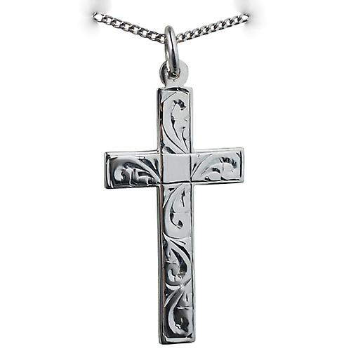 Silver 34x19mm flat Latin hand engraved Cross with a Curb chain