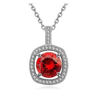 Womens Square Large Red Crystal Stone Pendant Necklace Beautiful