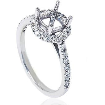 1 / 3ct Halo Diamond Ring mise en 14K or blanc