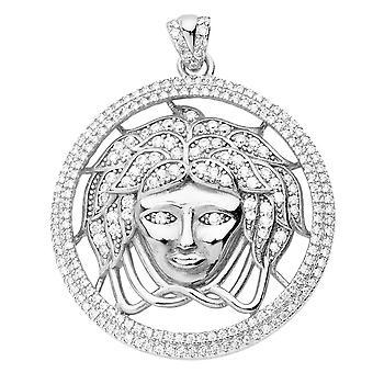 925 iced out sterling silver pendant - MEDUSA Medallion