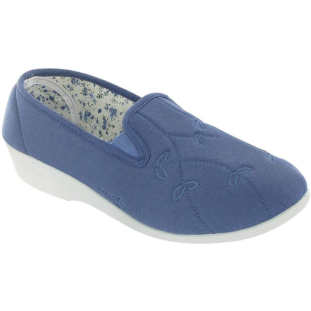 Mirak Ladies Bessie Slip On Two Gusset Canvas Summer Casual Shoe Royal