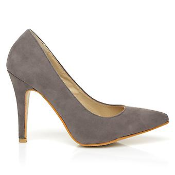DARCY Grey Faux Suede Stilleto High Heel Pointed Court Shoes