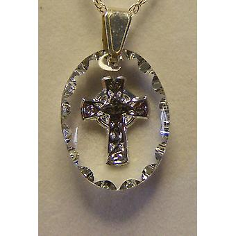 Hand painted oval Celtic Cross Crystal Pendant - Silver