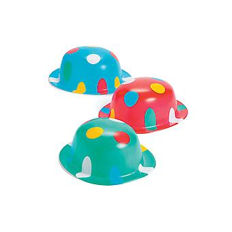 12 Spotty Bowler Clown Style Party Hats | Kids Birthday Party Hats