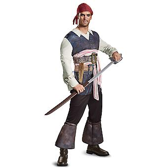 Potc5 Classic Captain Jack Sparrow Pirates of Caribbean Mens Costume Plus 2XL