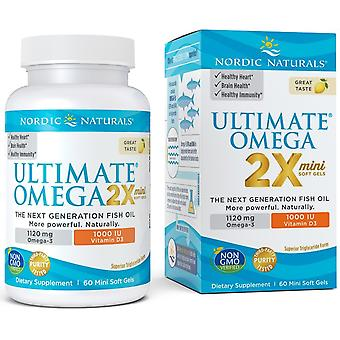 Nordic Naturals Ultimate Omega 2X Mini with Vitamin D3 1120 mg Lemon 60 Softgels