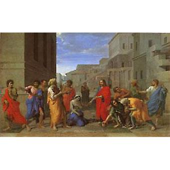Christ and the Woman Taken in Adultery, Nicolas Poussin, 40x60cm with tray