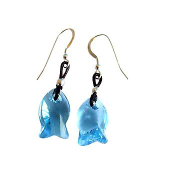 Gemshine - Damen - Ohrringe - Fisch - *Aquamarin* - Blau - 925 Silber - MADE WITH SWAROVSKI ELEMENTS® - 2 cm