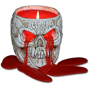 Spiral - goth skull - resin candle holder with halloween wax candle