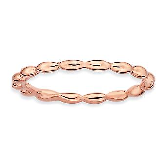 Sterling Silver Polished Patterned Stackable Expressions Pink-plated Rice Bead Ring - Ring Size: 5 to 10