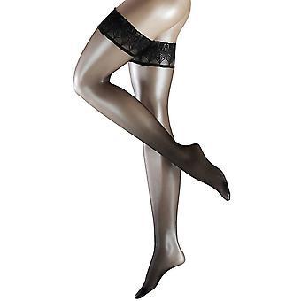 Falke Lunelle 8 Denier Ultra-Transparent Shimmer Stay Up Stockings - Black (055316)