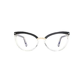 Tom Ford FT5551-B Blue Block Glasses In Shiny Black Clear