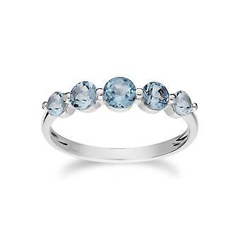 Gemondo Sterling Silver Five Stone Blue Topaz Round Gradient Ring