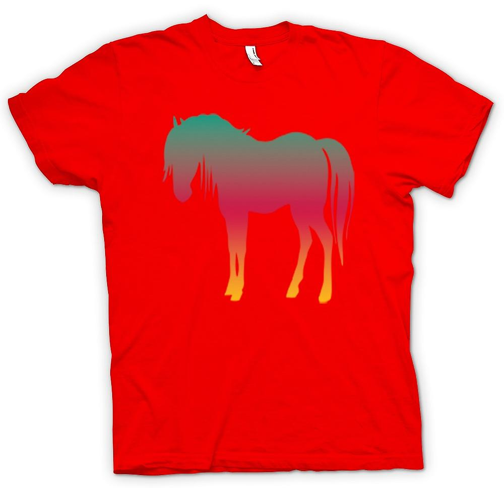 Mens T-shirt - Rainbow Design Horse Psychedelic
