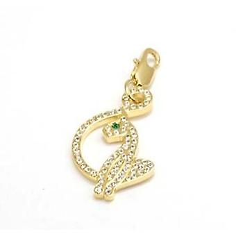 Baby Phat Goldtone Rhinestone Set Cat Charm on Trigger