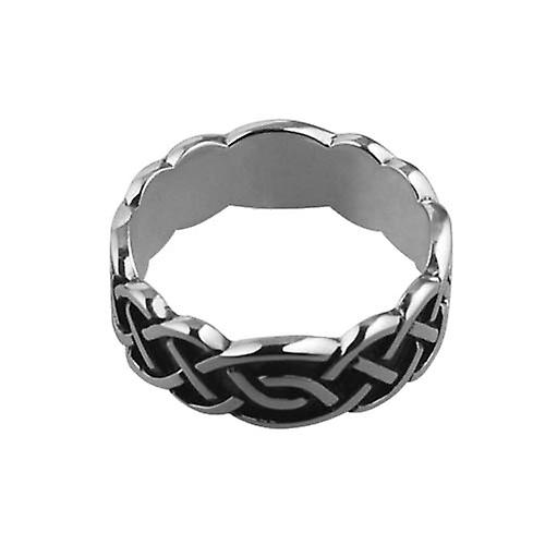 Silver oxidized 8mm Celtic Wedding Ring Size S