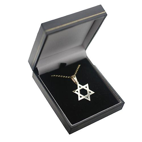 9ct Gold 27x27mm plain Star of David Pendant with a round link belcher chain