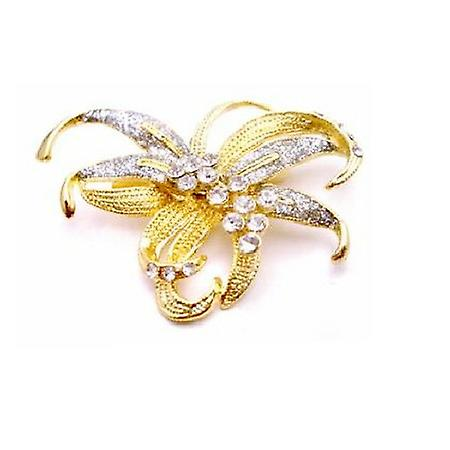 Artistically Designed Gold Bow Brooch Pefect For Wedding Dress Sashes