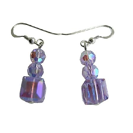 AB Violet Swarovski Crystal Sterling Silver Earrings