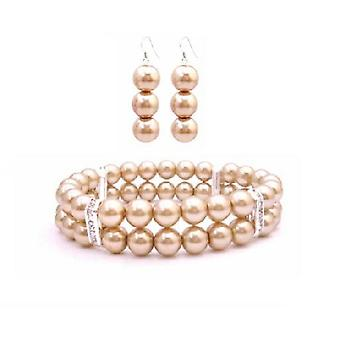 Goldene Champagne Perlen Armband & Ohrringe simuliert goldene Perle doppelt Stranded dehnbar w / Silber Rondells