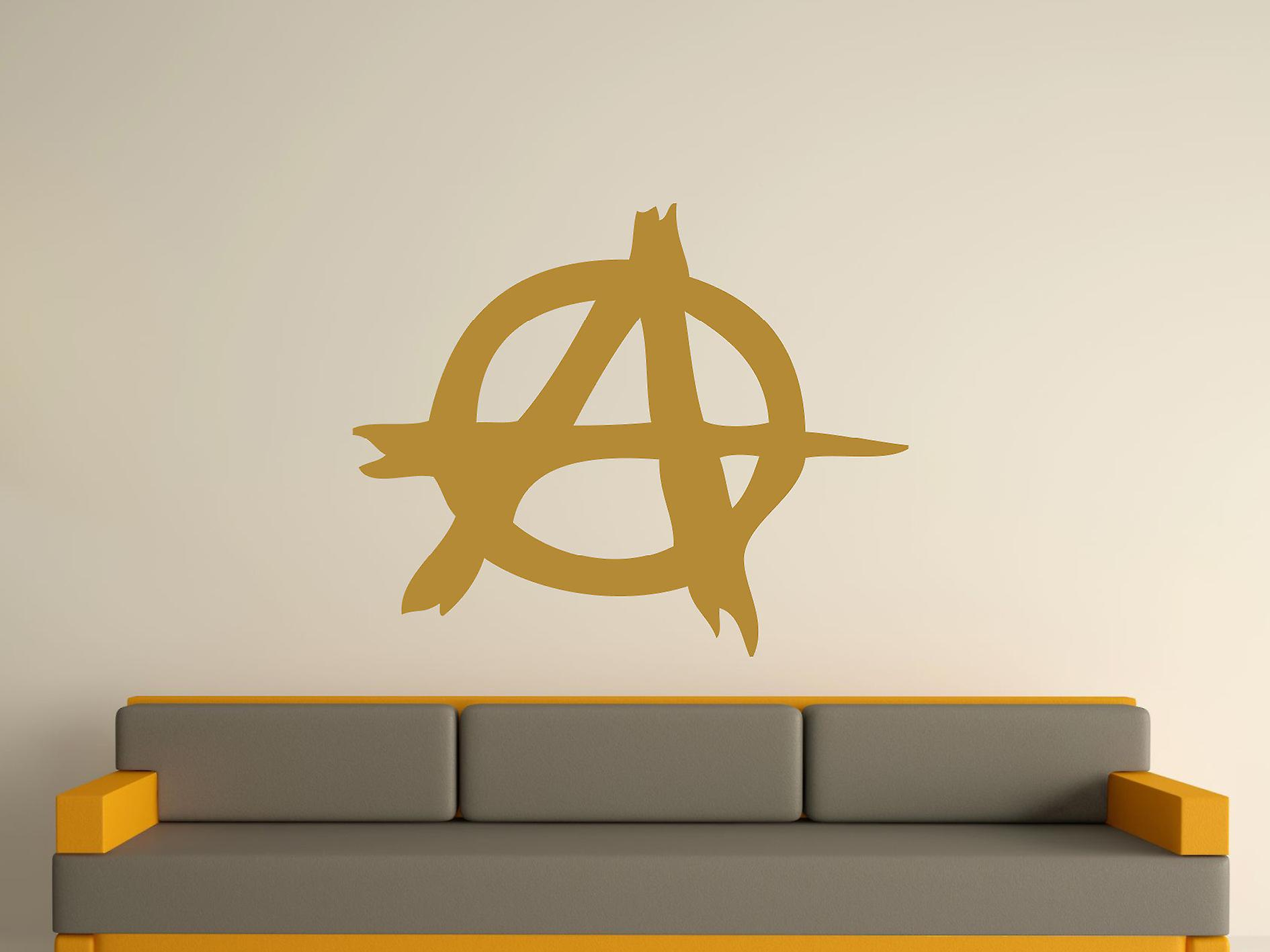 Anarchy Symbol Wall Art Sticker - Gold