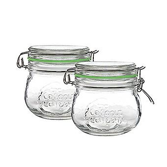 Kilner style glass clip jar X 2, 500ml glass jar with silicone seal