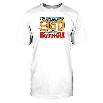 Ik heb het lichaam van een God - jammer het is Boeddha! -Grappig citaat Kids T Shirt