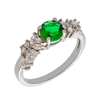 Bertha Juliet Collection Women's 18k WG Plated Green Cluster Fashion Ring Size 6