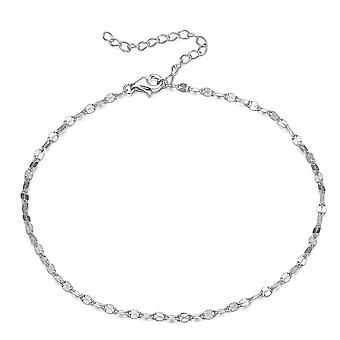 925 Sterling Silver 1mm Thick Diamond Cut Ankle Chain