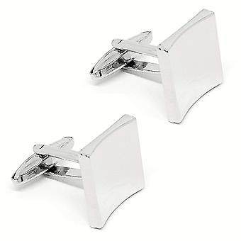 Curved square stainless steel wedding men's cuff links