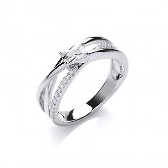 Cavendish French Silver and Cubic Zirconia Twist Band Ring