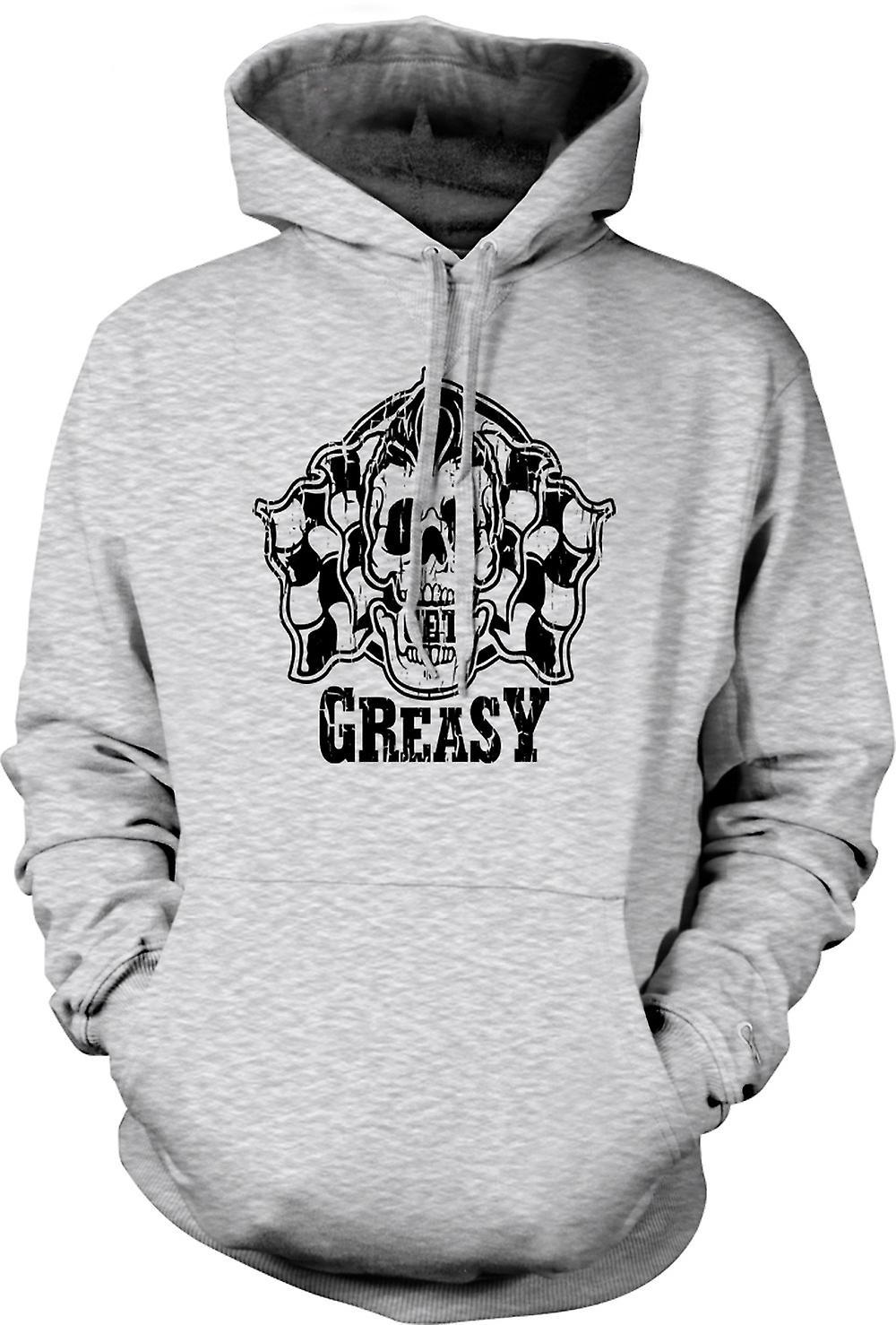 Mens Hoodie - Get Greasy - Biker