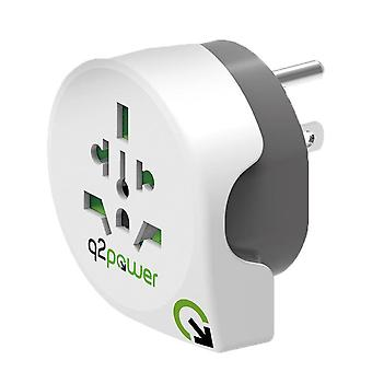 Travel Adapter World-to-USA Earthed Plug Socket Converter for Europe/UK/CH/AUS/NZ to USA (1.100140)