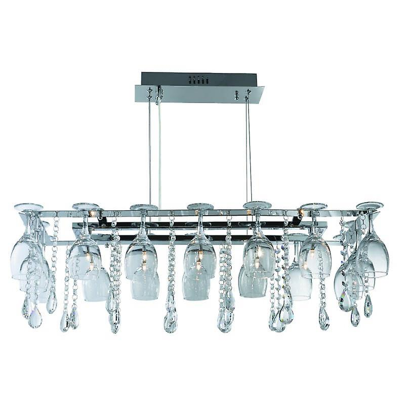 10 Light Ceiling Pendant Bar Chrome With Glass Crystals