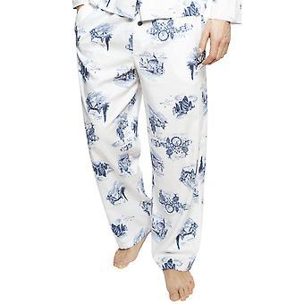 Cyberjammies 6401 Men's Harper White Mix London Print Cotton Pyjama Pant